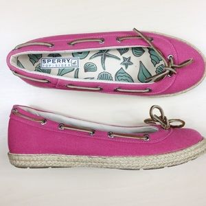 Sperry | Bright Pink Topsider Espadrille Boat Shoe